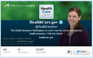 Healthcare.gov Twitter page - Social Media TAB